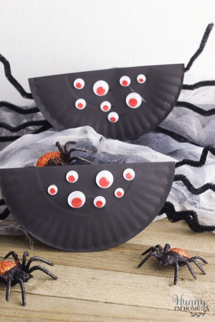 rocking paper plate spider by Hunny I'm Home DIY