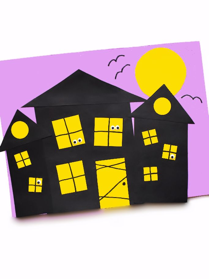 shape haunted house craft from Our Kid Things